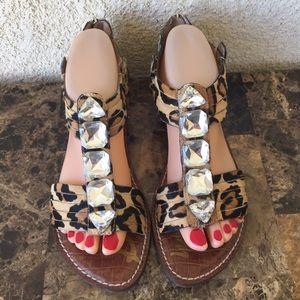 Sam Edelman Cheetah Jeweled Sandals Cow Fur 8.5